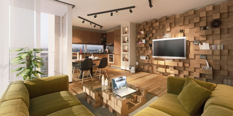 Modern Bachelor's Open-Plan Apartment With Lots Of Warm Woods