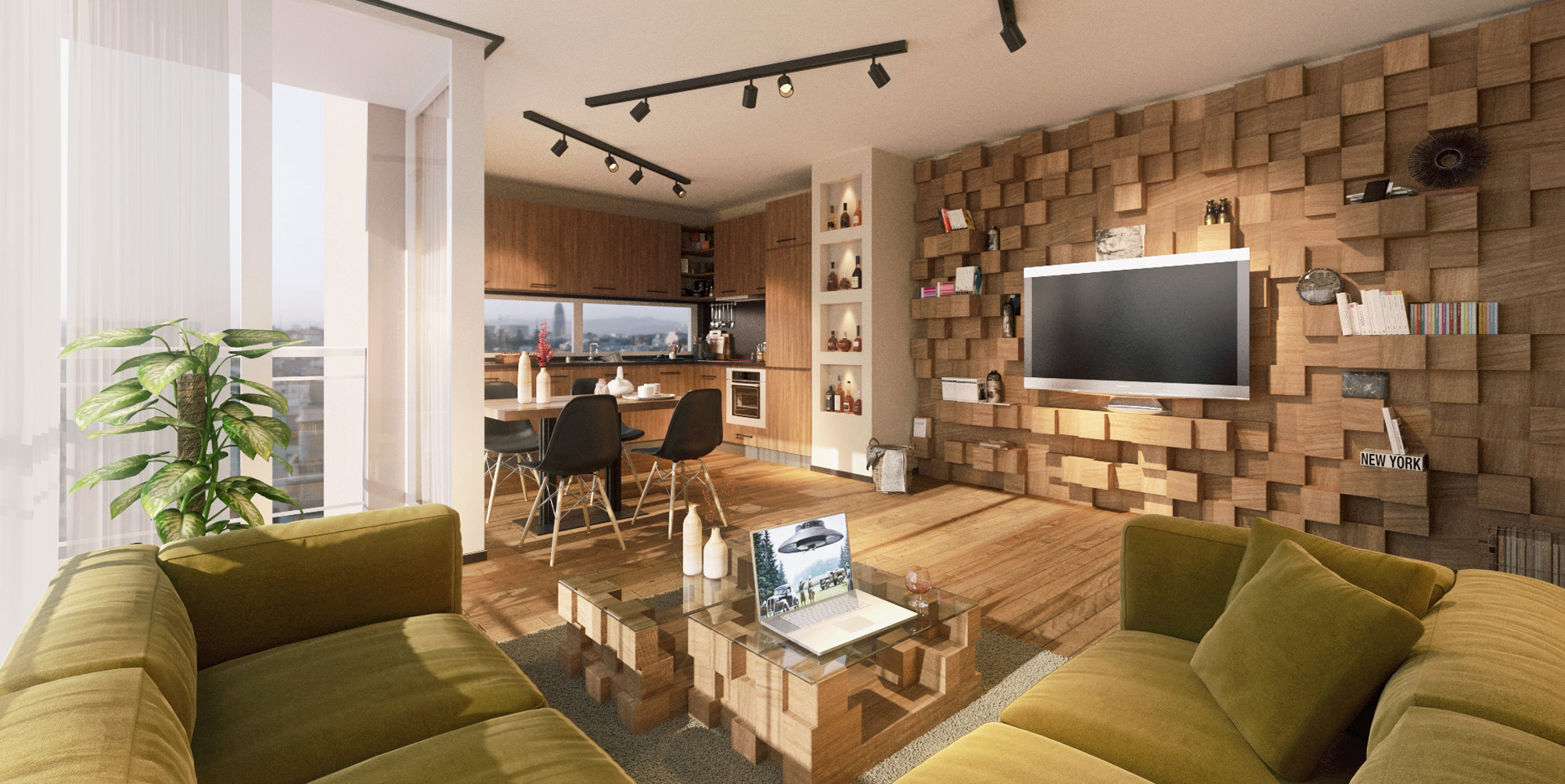 Picture of this modern bachelor s pad is designed open for Modern bachelor apartment