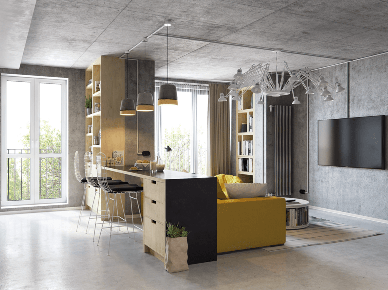 Modern Living Room Kitchen Combo modern living room and kitchen combo with industrial touches