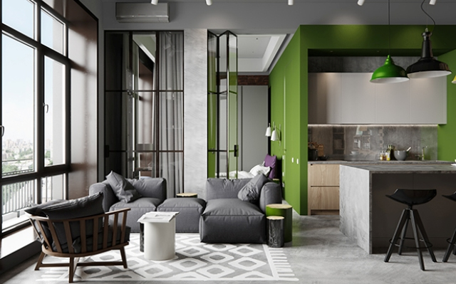 Industrial Chic Apartment With Bold Green Touches DigsDigs