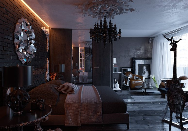 All-Black Modern Gothic Bedroom Design - DigsDigs
