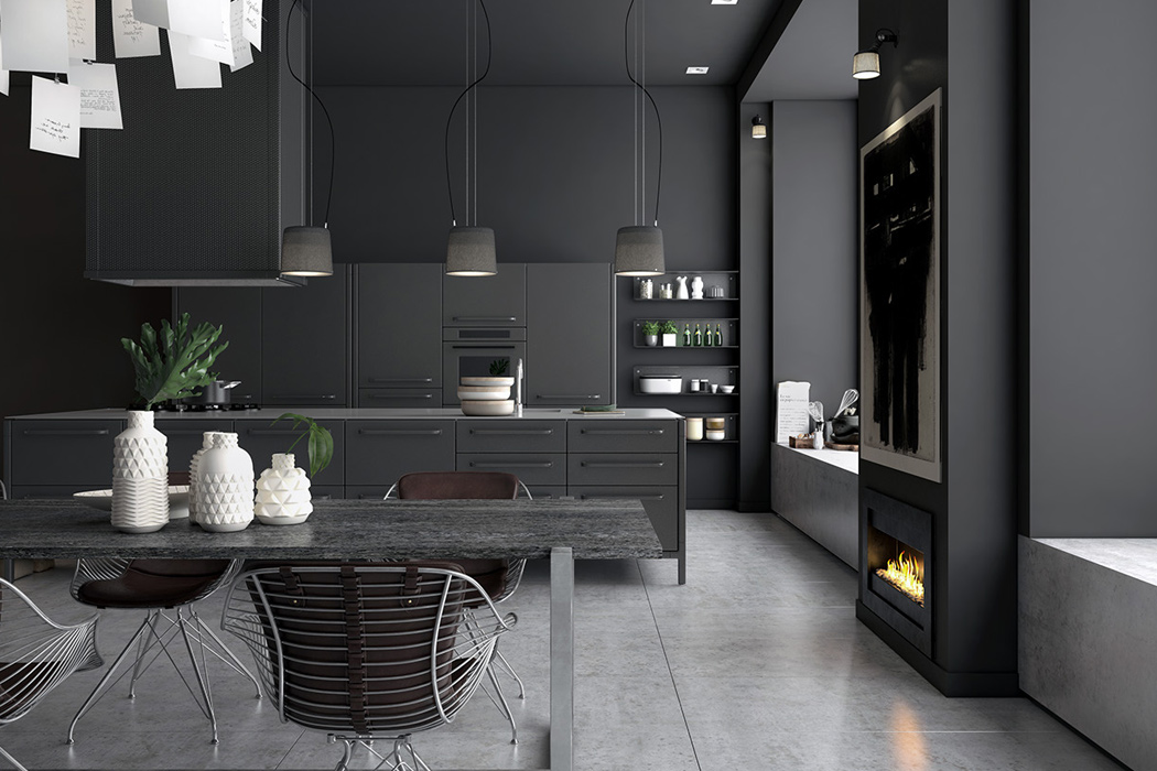 The basis is a Vipp kitchen with black metal cabinets and appliances