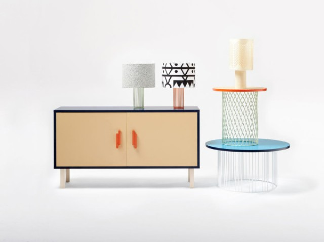 There's a series of lamps, coffee tables, and a sideboard, all of which come in several colors and can even be customized