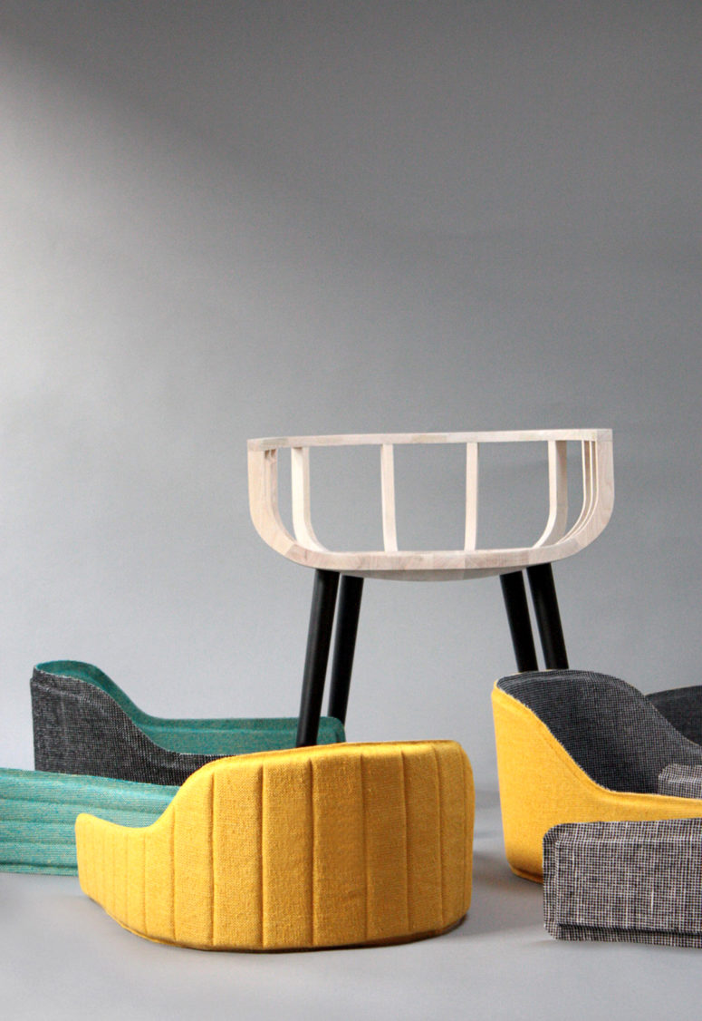 You will get not only a wooden chair but also a pack of fitting upholstery in various colors