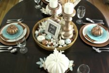 02 brown tablescape with blue accents, candles in antique candle holders and wheat