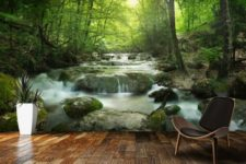 02 echanted forest with a waterfall makes your living room nature-filled