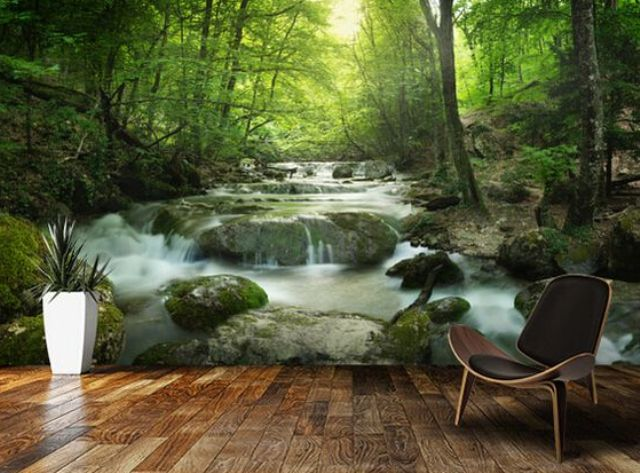 echanted forest with a waterfall makes your living room nature-filled