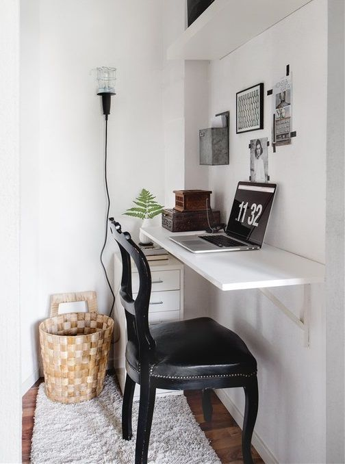 Small Home Office Nook With A Small Desk Top