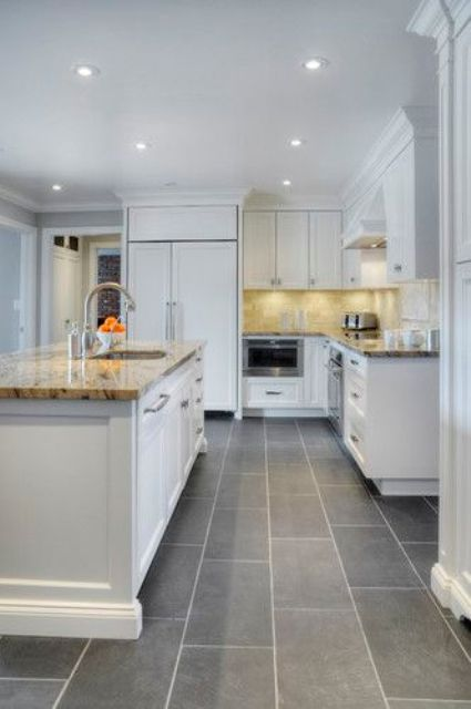 Picture Of Modern Kitchen With Grey Floor Tiles