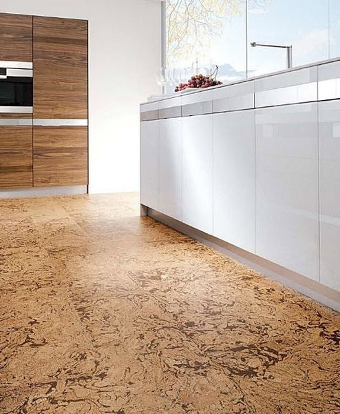 Modern Kitchen With Textural Cork Floors