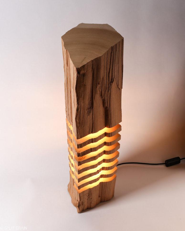split grain lamp series made of wood remnants - digsdigs
