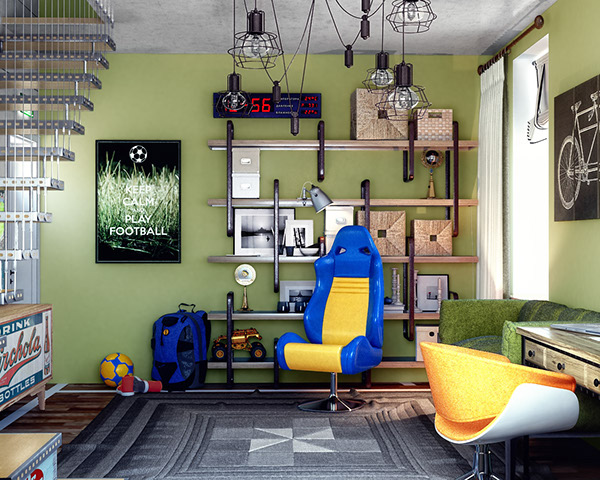 Industrial decorations and bold colors are right what a teen boy needs