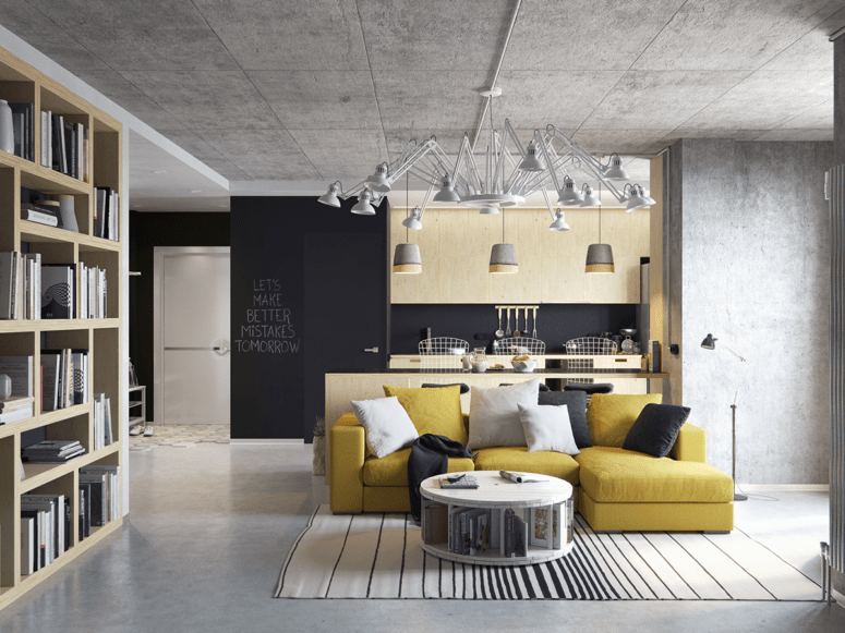 Modern Living Room And Kitchen Combo With Industrial ...