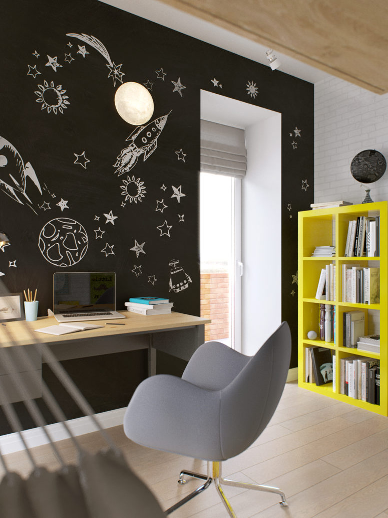 The chalkboard wallpaper is space-themed