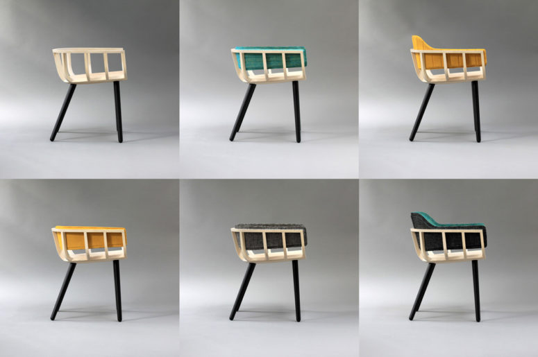 The colorful upholstery attaches to the chair via magnets, giving your seating device a lot of variety