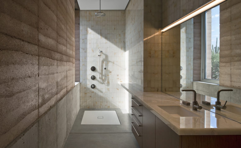 The colors and materials used in decor were strongly influenced by the desert and it's earthy feel