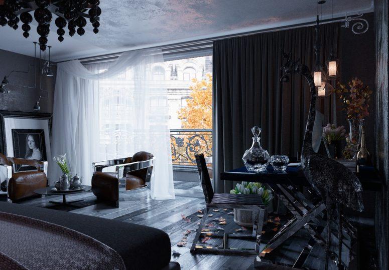 Bedroom Interior Black And White