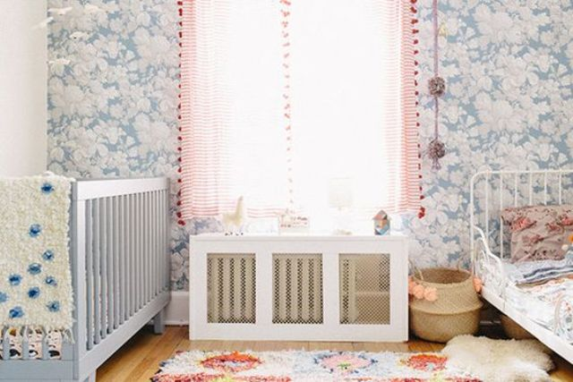 cover with metal screens and shelf in a shared girls' room