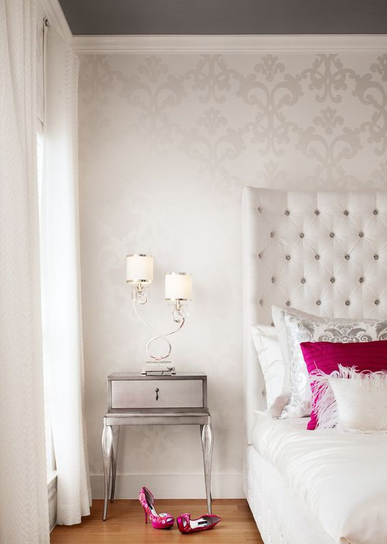 Superb Delicate Patterned Wallpaper Adds Dimension To This Bedroom