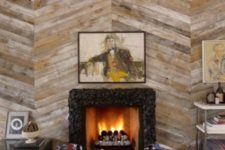 03 diagonal wood plank accent wall to highlight the fireplace