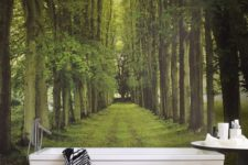 03 green alley mural turns your bathroom into a spa retreat somewhere in the woods