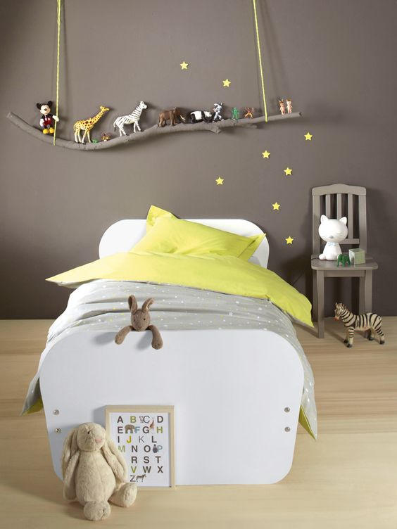 03 grey boy's sleeping area with a branch toy shelf over the bed