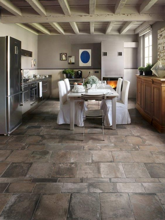 25 stone flooring ideas with pros and cons digsdigs for Kitchen and floor tiles