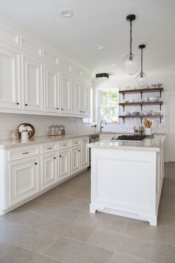 water resistance and durability make tiles perfect for kitchen flooring