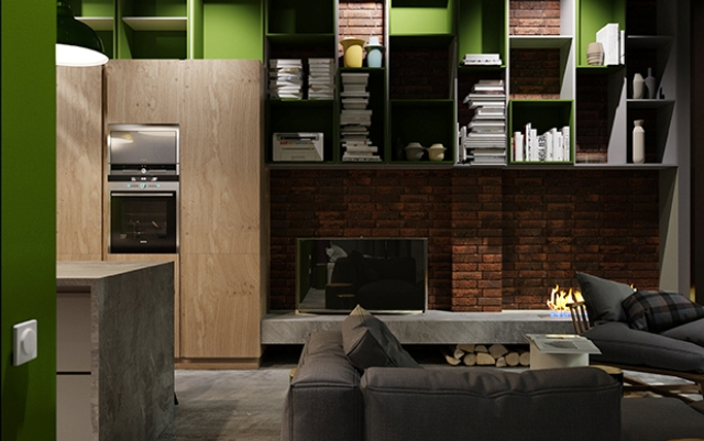 A bioethanol fireplace and firewood stored are for a cozy and inviting feeling