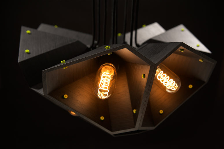 Lime green accents but are actually contact points where each light can be pressed together