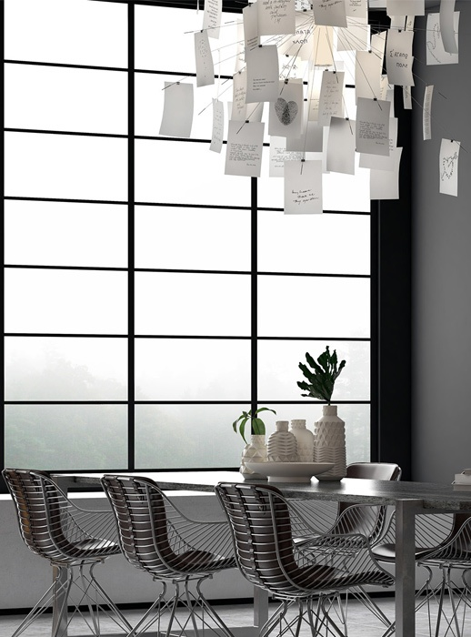 Over the dining table you'll see a love note chandelier to make the space more cheerful