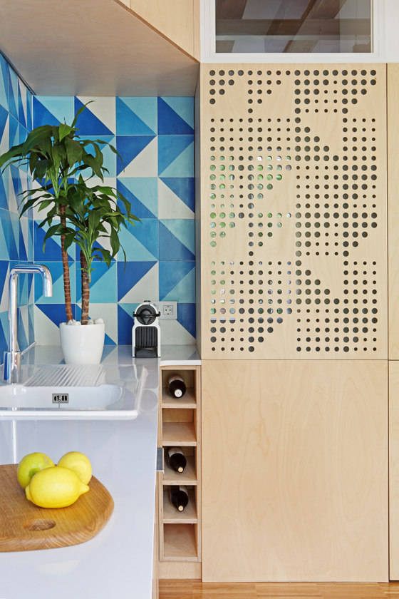 Perforated panel integrated into the kitchen furniture has mood light