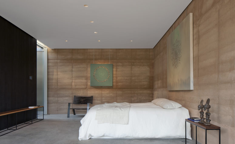 The colors are comfy, cozy and neutral, while the decor is very modern and edgy