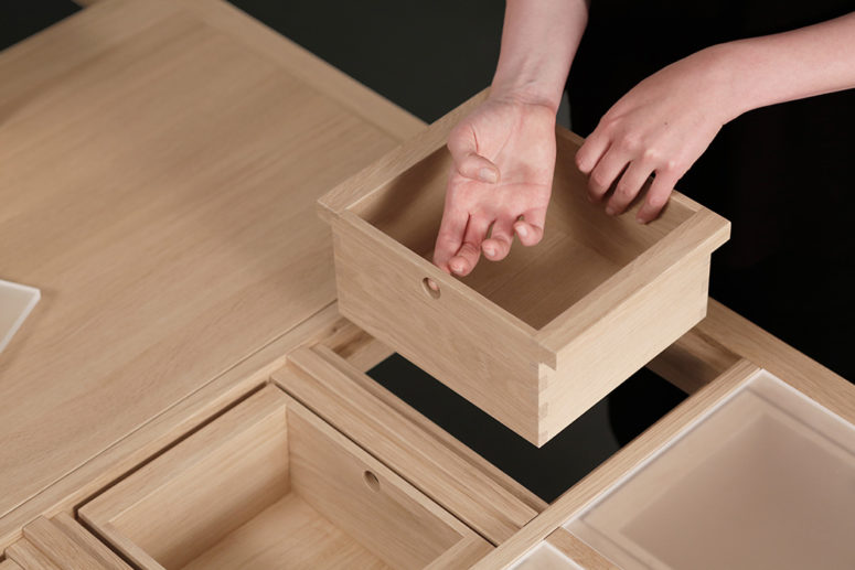 The user can insert drawers as he or she needs personalizing it