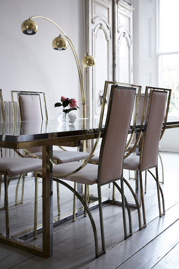 The Dining Space Looks Amazing With Blush Chairs And A Modern Gold And Silver  Dining Table