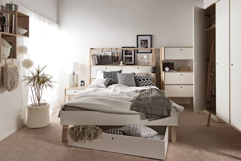 The lofted bed comes with integrated drawers and wardrobes that tuck neatly away