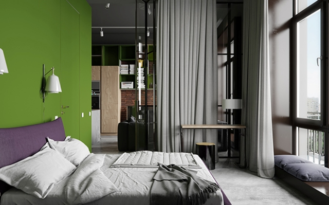 The master bedroom is decorated with grey, there are purple and green accents