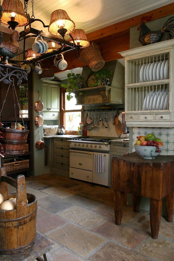 floors of different shades add to the cozy rustic kitchen decor