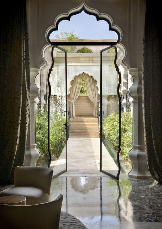 foiled doorway to the garden