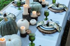05 green and white pumpkins, candles on wood stumps, floral napkins