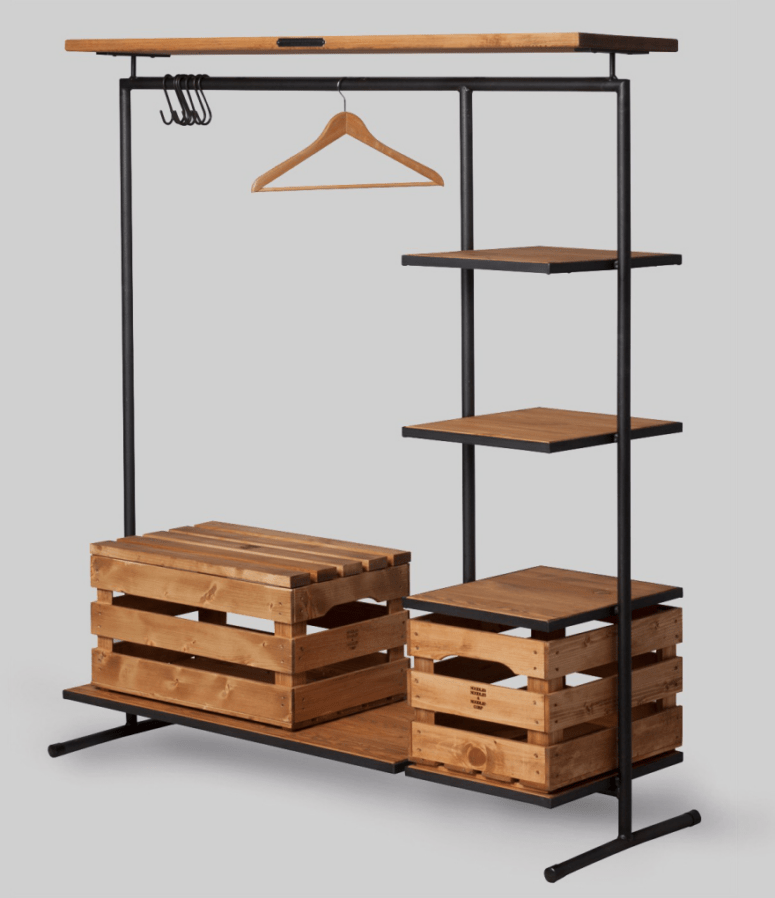 Metal And Wood Rack With Crates For Storage
