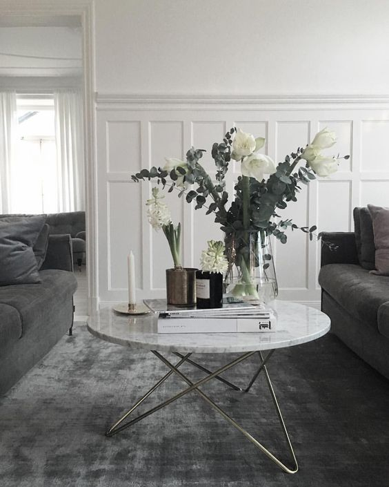 modern grey living room with white wainscoting