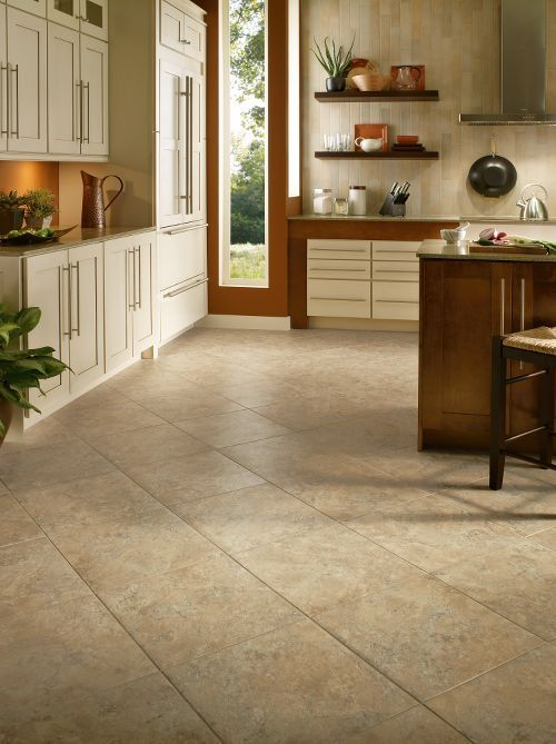 vinyl tiles are extremely durable and water and dirt resistant, so they are perfect choice for kitchen flooring