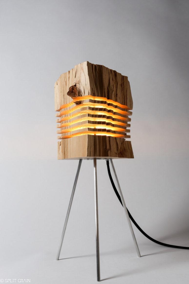 Сплит зерновая лампа серии из дерева остатков