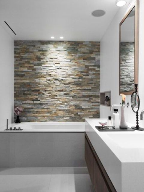 stone accent wall in a bathroom