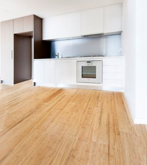 light flooring against a white kitchen