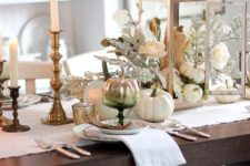 06 white and ivory table setting with gilded candle holders and silver pumpkins