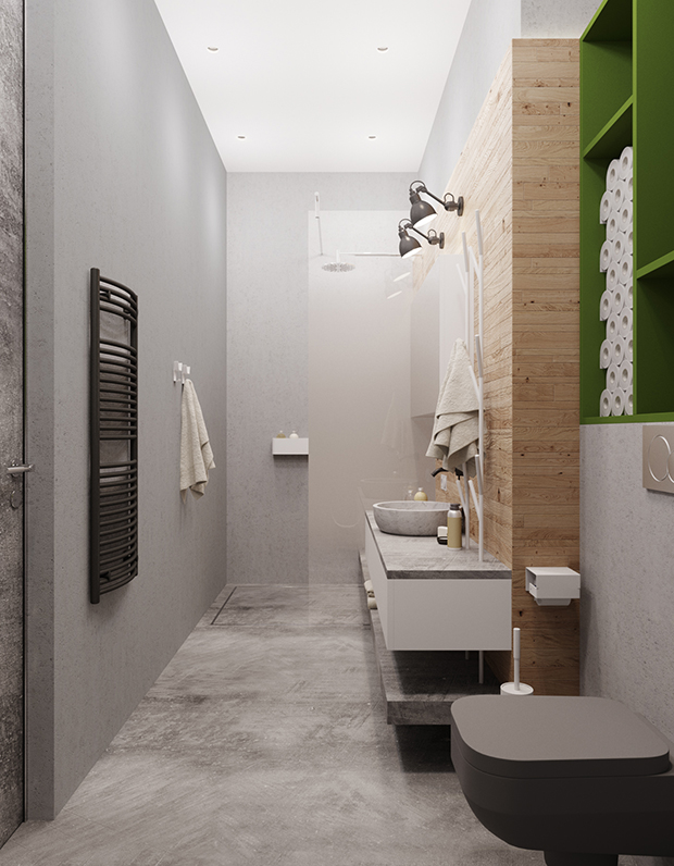 The bathroom is industrial, with lots of concrete and a wooden wall