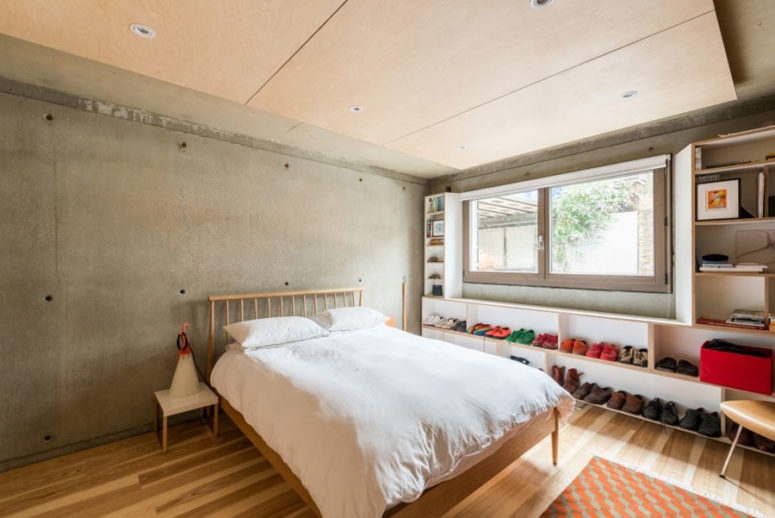 The master bedroom is decorated in a more personal way, with a cool window shelf for shoes