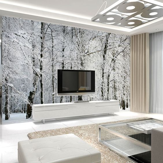 landscape with a birch tree forest strikes in this neutral living room